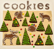 New Year's and Christmas gingerbread trees (ginger and honey coo Royalty Free Stock Photos