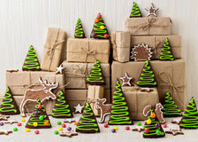 New Year's and Christmas gingerbread trees (ginger and honey coo Royalty Free Stock Photo
