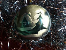 New Year`s and Christmas. Glass sphere. The interior of the New Year. Stock Photos