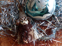 New Year`s and Christmas. Gnome and glass sphere. The interior of the New Year. Stock Images