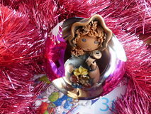 New Year`s and Christmas. Gnome in the New Year`s glass sphere. The interior of the New Year. Royalty Free Stock Photos