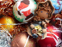 New Year`s and Christmas. Gnome and New Year`s glass sphere. The interior of the New Year. Royalty Free Stock Photography
