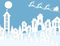 New Year`s Christmas. An image of Santa Claus and deer. Snow, moon, trees, houses, church. Cut from white paper. Vector illustration Stock Photos