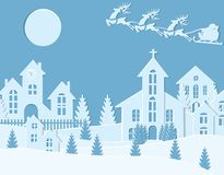 New Year`s Christmas. An image of Santa Claus and deer. Winter city in the New Year. Snow, moon, trees, houses, church. Cut from paper. Vector illustration Royalty Free Stock Image