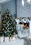 New Year`s and Christmas interior in the hall stock image