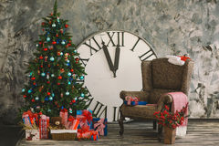 New Year's and Christmas interior with hours 2 Royalty Free Stock Image