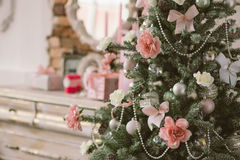 New Year's and Christmas interior in pink color 4 Royalty Free Stock Photo