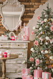New Year's and Christmas interior in pink color 5 Stock Photography