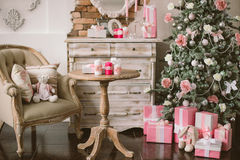 New Year's and Christmas interior in pink color 3 Stock Photo