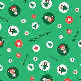 New Year's, Christmas pattern. With Santa Claus's image, a deer, stars and snowflakes on a green background Royalty Free Stock Image