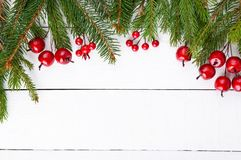 New Year`s, Christmas theme. Green fir branches, decorative berries on white wooden background. Royalty Free Stock Photos