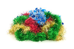 New Year`s or Christmas tinsel. New Year`s or Christmas tinsel on a white background Stock Photo