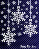 New Year`s or Christmas toy made of snowflakes on a blue-and-black background. Card with New Year`s or Christmas toys made of snowflakes Royalty Free Stock Photos