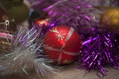 New year`s, Christmas toys and tinsel Royalty Free Stock Photography