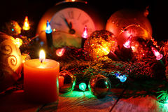New Year`s and Christmas wooden background. royalty free stock photo