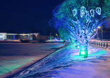 New Year's city landscape. Winter city landscape on New Year's Eve Royalty Free Stock Image