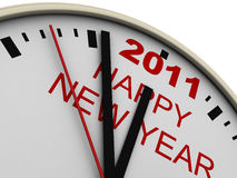 New Year's clock. On white background. 3d render stock illustration