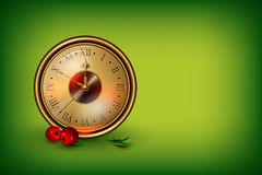 New Year's clock. Vector clock showing 10 minutes about new year decorated with red berries Royalty Free Stock Images