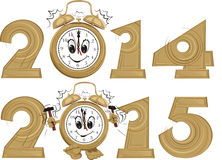 New year`s clock. New year's ringing clock with a dial smiling vector illustration