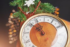 New Year`s Clock. Old watches and Christmas decorations. Concept of New Year and Christmas. New Year`s Clock. Old watches and Christmas decorations. Concept of Royalty Free Stock Image