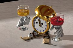 New Year`s clock. New Year clock on the skiing offer wine for the holidays Stock Photography