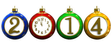 2014 New Year's clock on white background Stock Photography