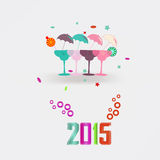 2015 New Year's cocktails. Vector background vector illustration
