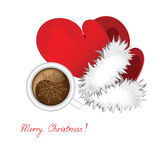 New year's coffee. Cup of coffee and mitten Santa against the white background Royalty Free Stock Photography