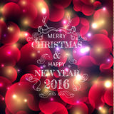 New Year's color shining background with a Christmas inscription Stock Photo