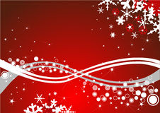 New Year's composition. With white wavy lines and snowflakes with red background Royalty Free Stock Images