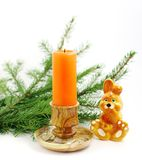 New year's composition with burning candle Stock Image