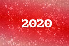 New year-2020. New year`s composition, the concept of the New year. Inscription 2020 red background with painted snow and snowflak stock photography
