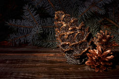 New Year`s composition of a pine cones Royalty Free Stock Photography