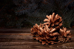New Year`s composition of a pine cones Stock Photos
