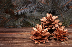 New Year`s composition of a pine cones Stock Photo