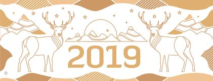 New Year`s cover for a site with deer, mountains and number 2018 drawn by thin lines. stock illustration