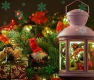 New Year`s and Cristmas decor. lantern, spruce branches, gifts a stock photos