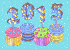 New Year's cupcakes Royalty Free Stock Images