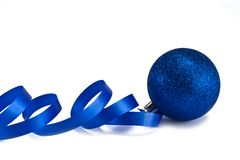 New Year's dark blue sphere with a ribbon Stock Photo