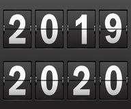 New Year`s date 2019, 2020 numbers on scoreboard. New Year`s date 2019, 2020 numbers on mechanical scoreboard. Illustration stock illustration
