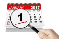 New Year`s Day Concept. 1 January 2017 calendar with magnifier Stock Image