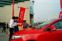 New year`s Day holiday, Shenzhen auto show scene landscape, many people watching Stock Photo