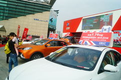 New year`s Day holiday, Shenzhen auto show scene landscape, many people watching Stock Images