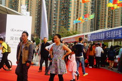 New year`s Day holiday, Shenzhen auto show scene landscape, many people watching Stock Image