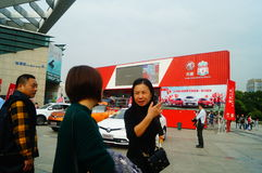 New year`s Day holiday, Shenzhen auto show scene landscape, many people watching Stock Photos