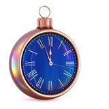New Year`s Day 12 o`clock Christmas ball black golden. New Year`s Day 12 o`clock face Christmas ball midnight time pressure countdown golden black. Last hour stock illustration