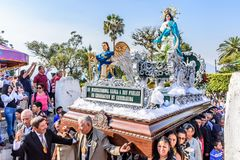 New Year`s Day procession in village near Antigua, Guatemala. San Juan del Obispo, Guatemala -  January 1, 2017: New Year`s Day procession in village near Royalty Free Stock Photography