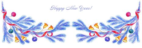 New Year`s decor from blue pine branches with balls, bells and red ribbons on a white background. vector illustration