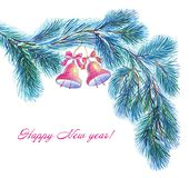 New Year`s decor of fluffy cedar branches with red bells. stock illustration