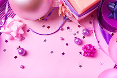 New Year's decor in violet tones Stock Photos
